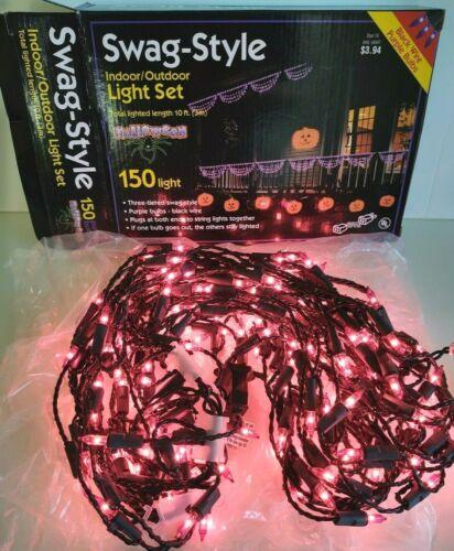 WORKS 150-LIGHT SWAG STYLE PURPLE HALLOWEEN LIGHTS Indoor Outdoor UL