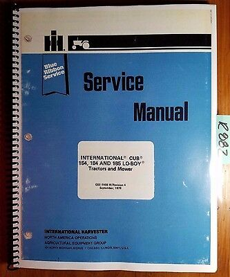 Ih International Cub 154 184 185 Lo-boy Tractor Mower Service Manual Gss-1408 R4