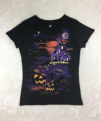 Ladies Haunted House Pumpkins Happy Halloween T-Shirt (Happy Happy Happy Halloween)