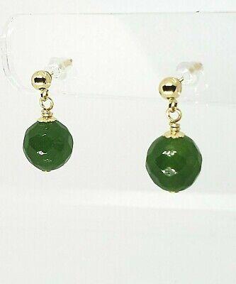 14k Yellow Gold Faceted Green Jade Ball Post Drop Dangle Earrings