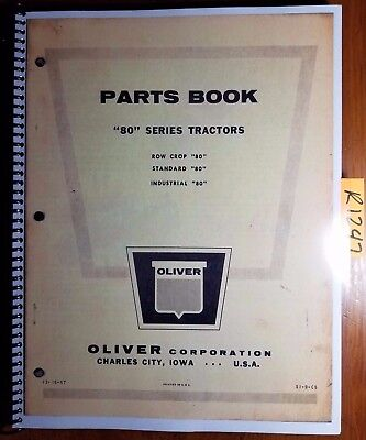 Oliver 80 Series Tractor Row Crop Standard Industrial Parts Book Catalog Manual