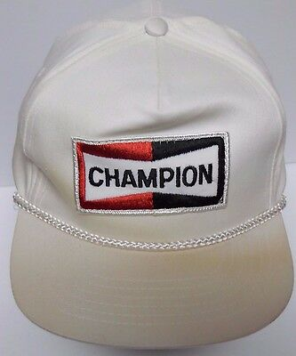 Vintage 1990s CHAMPION SPARK PLUGS AUTOMOTIVE ADVERTISING SNAPBACK PATCH HAT CAP - Sparkly Top Hats