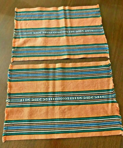 Vintage c 1970s Place Mats Set of 2,  Fabric Woven COLORFUL w/ Fringe