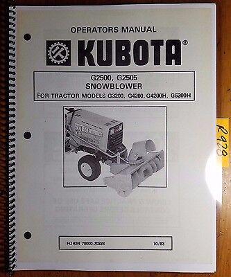 Kubota G2500 G2505 Snowblower For G3200 G4200 G4200h G5200h Operator Manual