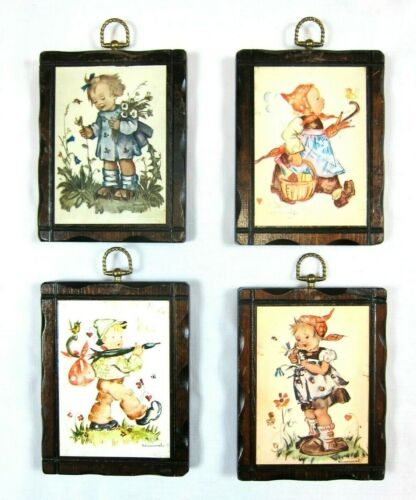 Lot of 4 Vintage Hummel Wood Wall Plaques Unique Handcrafted Pine Wood Frames