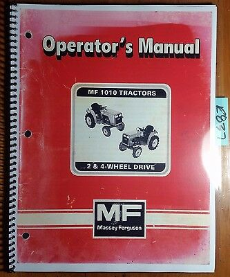 Massey Ferguson Mf 1010 Mf1010 2 4 Wheel Drive Tractor Owner Operators Manual