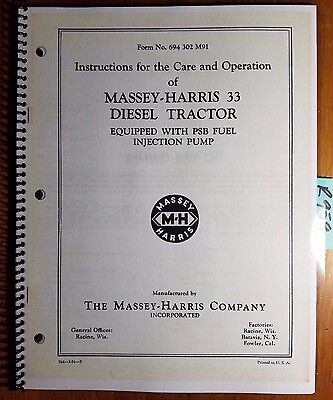 Massey Harris 33 Diesel Tractor Equipped With Psb Fuel Injection Pump Manual 54