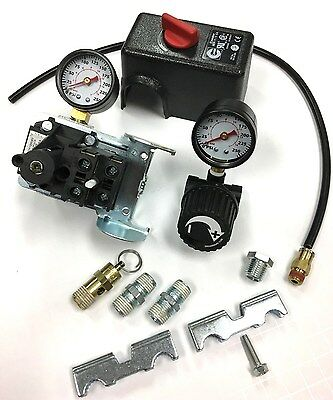 Air Compressor Pressure Switch Kit With Regulator Gauge Safety 95-125 Psi