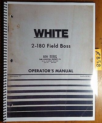 Wfe White 2-180 Field Boss Tractor Owners Operators Manual 432 446 1277