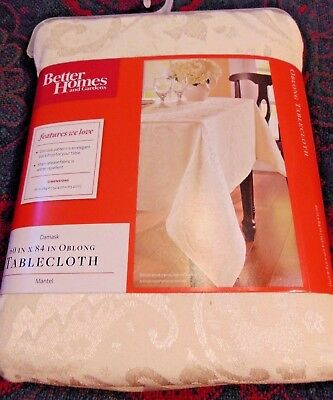60x84 Fabric Tablecloth - Fabric Better Home & Garden Tablecloth 60x84 Oblong Ivory Damask Cream Rectangle