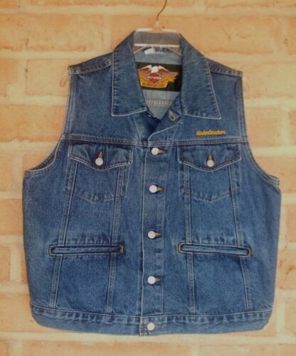 Harley Davidson Embroidered 4 Pocket Denim Motorcycle Vest Mens Medium