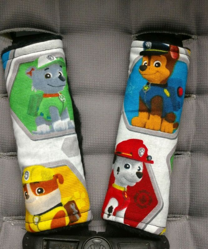 Paw Patrol Car Seat Strap Covers Chase Rubble Rocky Marshall Black Minky Toddler