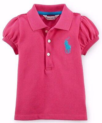 BNWT Ralph Lauren Polo Baby Girls Cotton Polo Shirt 9M RRP £59