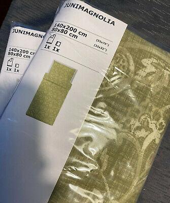 2 Sets 4-teilige Bettwäsche IKEA Junimagnolia grün - weiß 140x200 cm OVP
