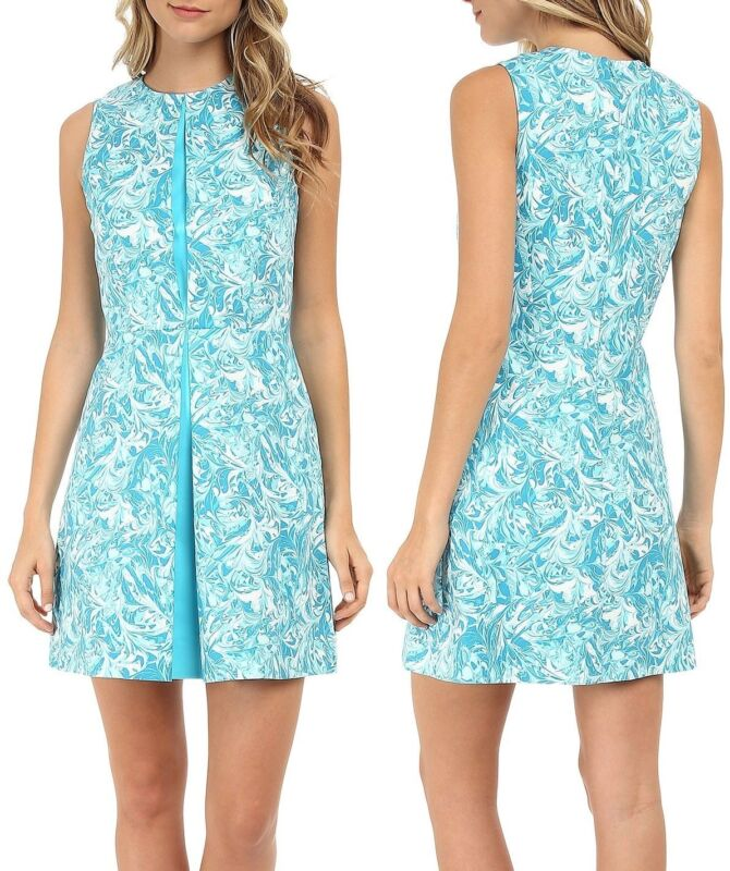 Michael Kors Lake Marble Swirl Turquoise Blue Pleated Front Sateen Dress S 6