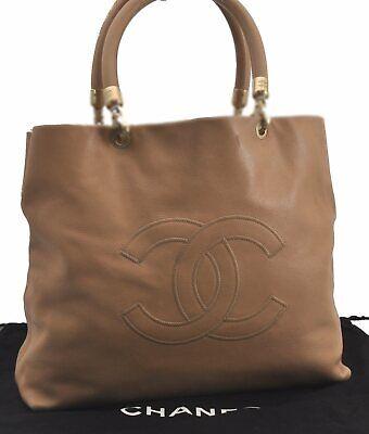 Authentic CHANEL Caviar Skin CC Logo Hand Bag Beige C1038