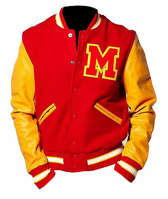 MJ Michael Jackson Thriller Jacket M Logo Letterman Varsity Red Yellow Jacket (Michael Jackson M Jacket)