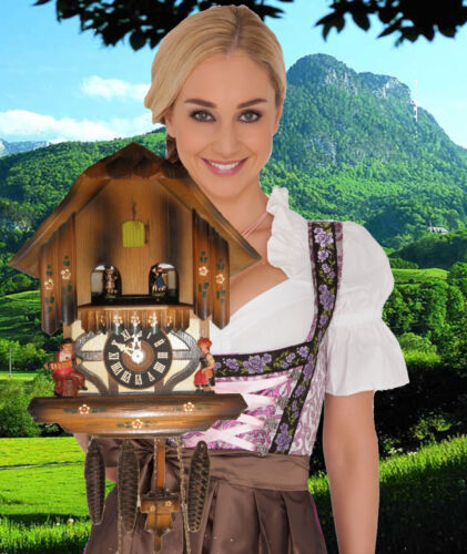 Cuckoo Clock German Black Forest working SEE VIDEO Musical Chalet 1 Day CK2639