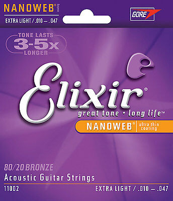 Elixir 11002 Nanoweb 80/20 Bronze Extra Light Acoustic Guitar Strings 1 Set