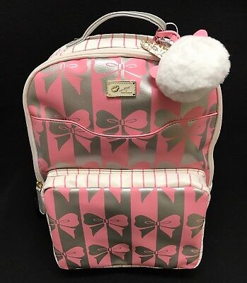 Betsey Johnson Luv Bow Pattern Backpack W/ unicorn puff Charm New!