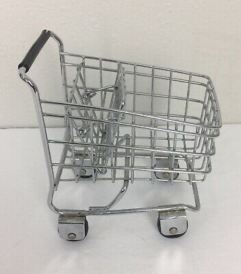 Mini Metal Wire Shopping Cart Grocery Mall Sample Toy Basket Vintage