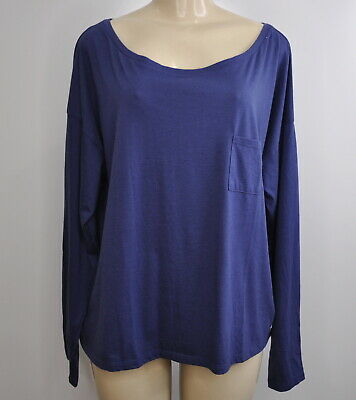 Fabletics Size XXL Sydney Long Sleeve Tee Boxy Top Shirt Aegean Blue New