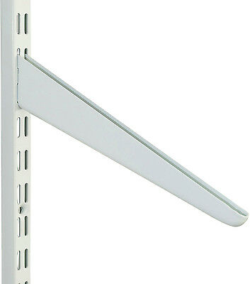 Slotted Display Shelf - 370mm White SLANTING SHELF BRACKET Twin Slot Shelving Shop Display System