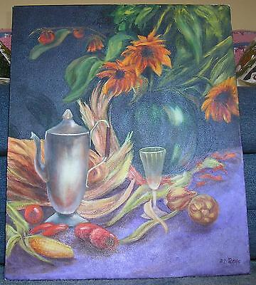 CORN HUSKS TOMATOES WINE GLASS COFFEE POT RUDBECKIA FLOWERS GARDEN OIL PAINTING