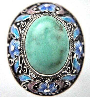 Vintage Chinese Natural Untreated Turquoise and Silver Filigree Ring