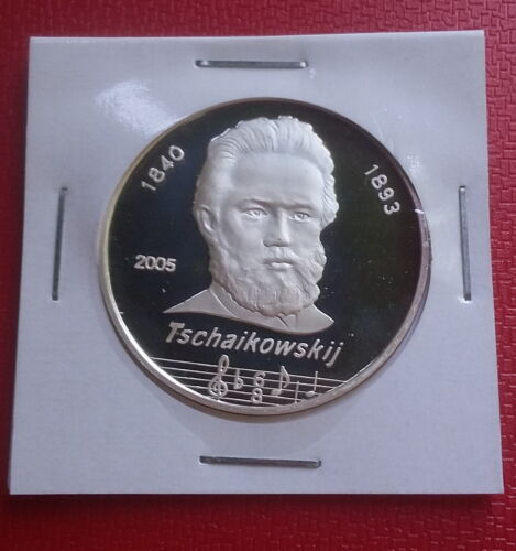 5 Won 2005 Korea Great Russian Composer Tchaikovsky Silver 999 Proof Scarce Coin