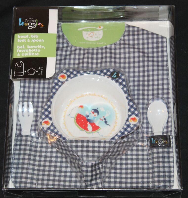 My Friend Huggles Baby 4 PC Feeding Set bib bowl utensils new