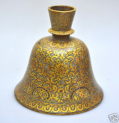 ANTIQUE MARBLE HOOKAH HUQQA BASE GILT MUGHAL ISLAMIC INDIA 1900