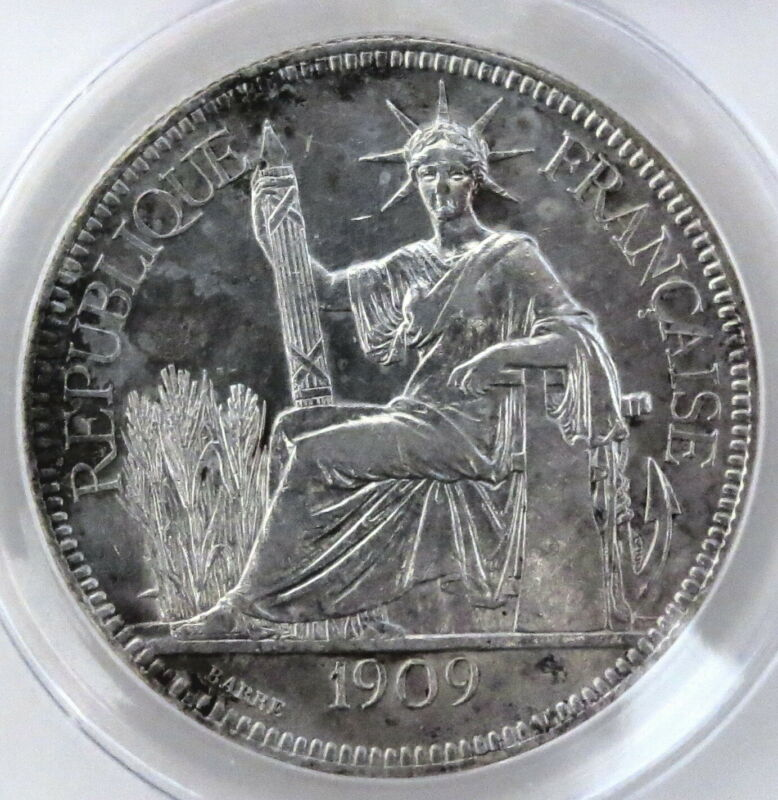 French Indo-China 1909-A, One-silver Piaster,Graded ANACS-AU-50,   clean/details