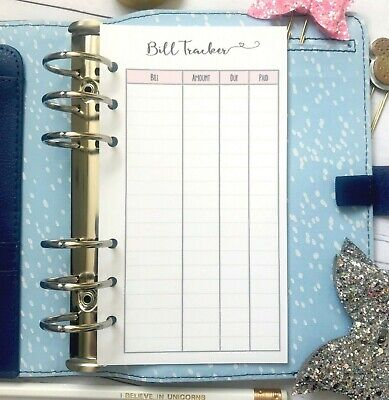 Personal Bill Tracker Planner Insert Refill Finance Daily Weekly Plan Monthly
