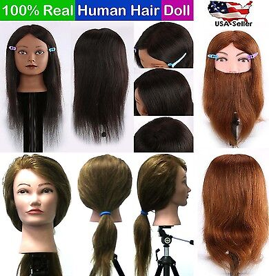 Cosmetology Mannequin Head 100  Real Human Hair Hairdressing Training Doll Usa