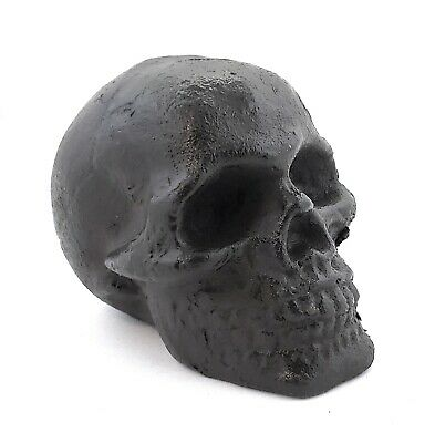 Cast Iron Skull Paperweight Figurine Biker Halloween Creepy Scary Decor