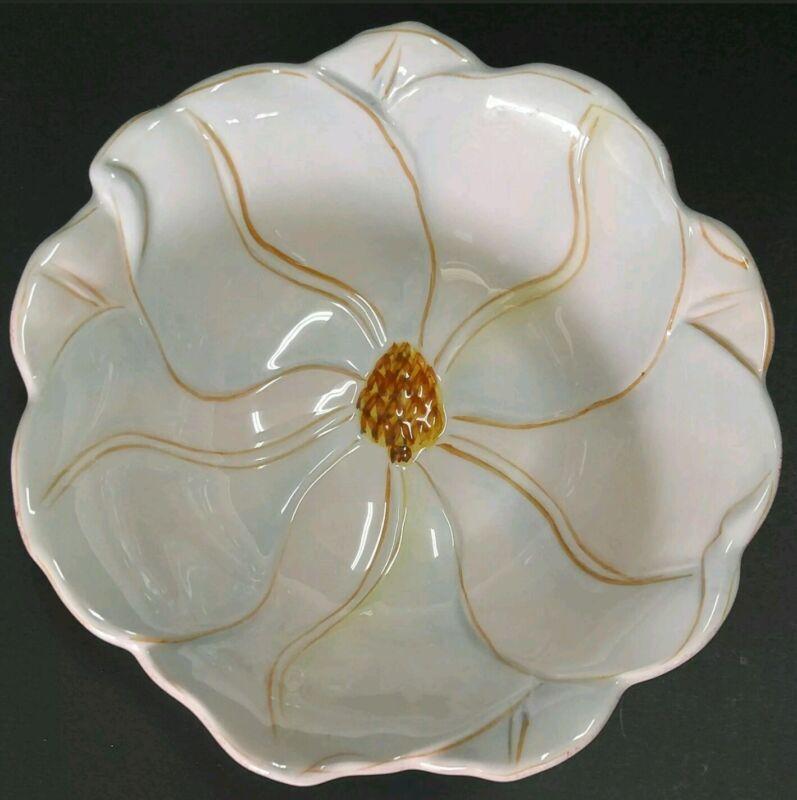 +Artimino Magnolia Charm Flower Shaped Decorative Bowl Hand-Painted Earthenware
