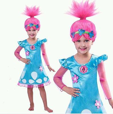 Child Trolls Poppy Troll Doll New Fancy Dress Costume Kids Girl Outfit 4T-10 - Kids Troll Costume