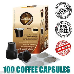 100 COFFEE CAPSULES Nespresso Espresso Machine Compatible Empty Pod Chocolate