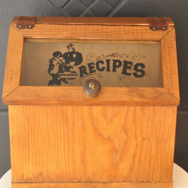Vintage Wood Recipe Box with Handwritten Recipes Cards