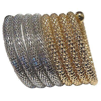 "Fabulous Gold & Silver Plated Stretch Bracelet Women Fashion Jewelry - 3"" - New"