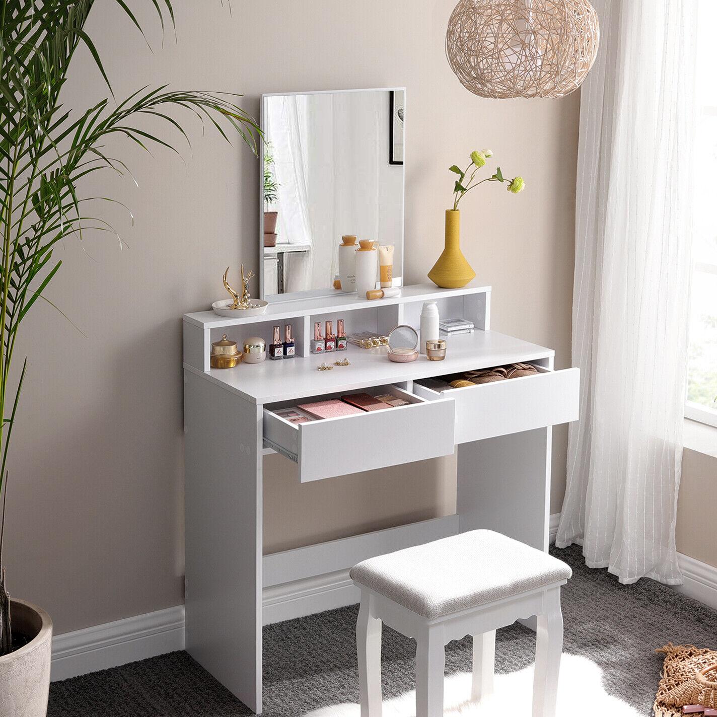 Schminktisch mit Spiegel und 2 Schubladen Frisiertisch Kosmetiktisch ohne Stuhl