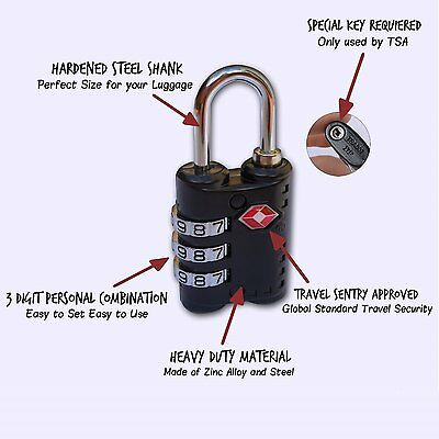 TSA Approved Luggage Locks 3 Digits. Best Choice For