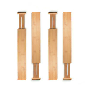 Adjustable Drawer Dividers Set Of 4 Bamboo Organizer Kitchen Expandable Tool