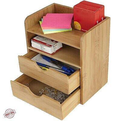 Office Supplies Desk Organizer Drawer Top Storage Wood Slide Out Box Shelf New