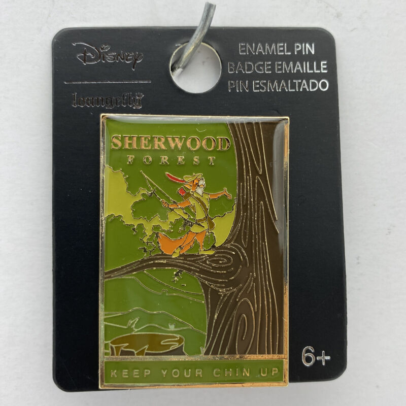 Disney Loungefly Pin Robin Hood Sherwood Forest Tourism Post Card Trading Pin