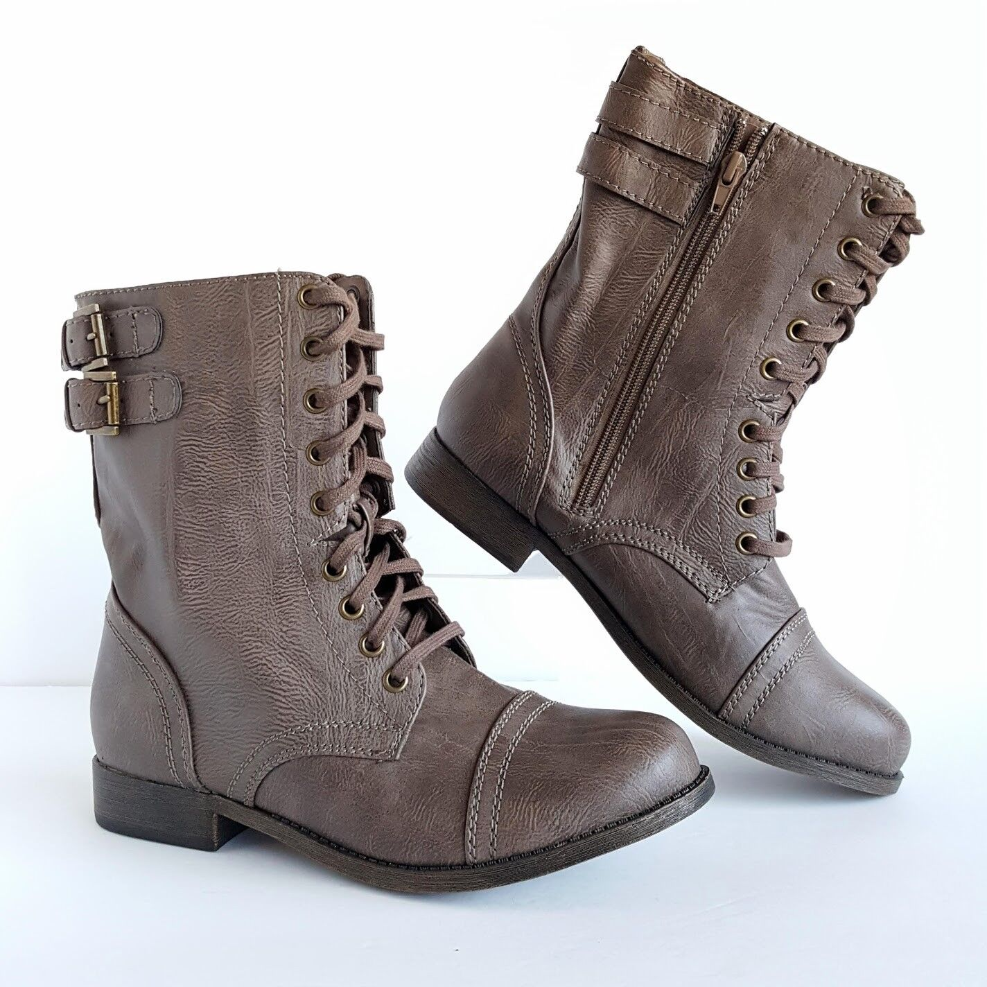 RAMPAGE Jaycer Vegan Leather Women Combat Boots Mid Calf Lac