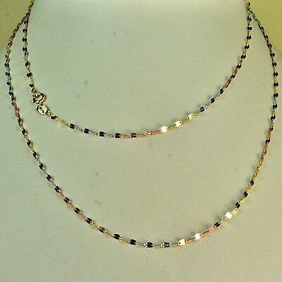 14k solid multi-tone gold 18 inches long mirror link very sparkly nice chain