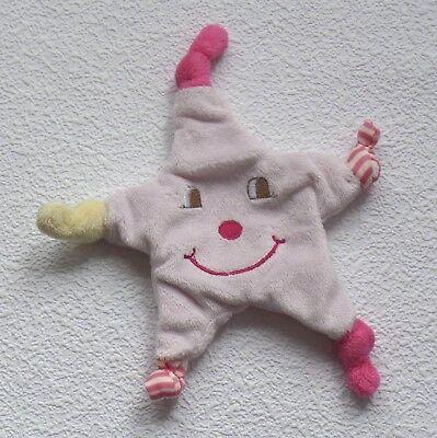 Stern klein rosa & gelb KIK mehrfarbig Schmusetuch Schnuffeltuch Kuscheltuch *