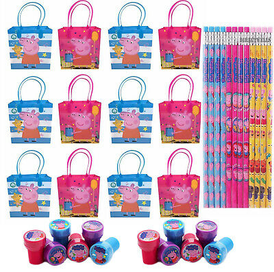 12pcs Peppa Pig Party Favor Goodie Gift Bags Birthday w/ 12pc Pencil+Stampers (Peppa Pig Gift Bags)